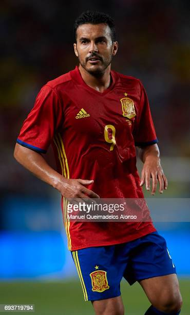 Pedro Rodriguez of Spain looks on during the international friendly match between Spain and Colombia at Nueva Condomina Stadium on June 7 2017 in...