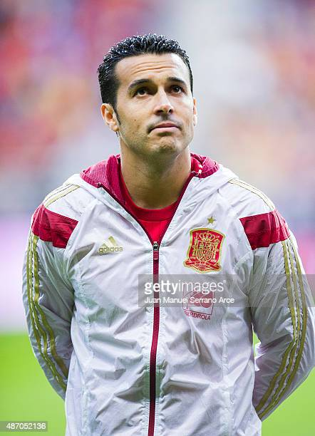 Pedro Rodriguez of Spain looks on prior to the start the Spain v Slovakia EURO 2016 Qualifier at Carlos Tartiere on September 5 2015 in Oviedo Spain