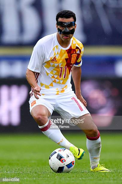 Pedro Rodriguez of Spain runs with the ball during an international friendly match between Spain and Bosnia at the AFG Arena on May 29 2016 in St...