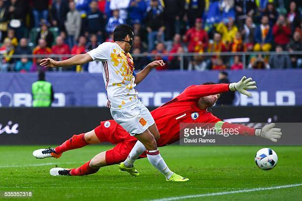 Pedro Rodriguez of Spain scores his team's third goal past Asmir Begovic of Bosnia during an international friendly match between Spain and Bosnia at...
