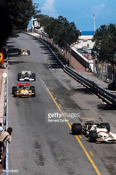 Pedro Rodriguez Ronnie Peterson Graham Hill BRM P153 MarchFord 701 Lotus 49C Grand Prix of Monaco Circuit de Monaco 10 May 1970