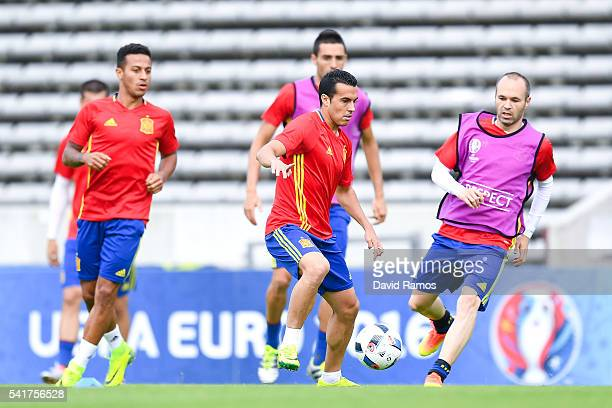 Pedro Rodriguez Thiago Alcantara and Andres Iniesta of Spain in action during a training session ahead of their UEFA Euro 2016 Group D match against...