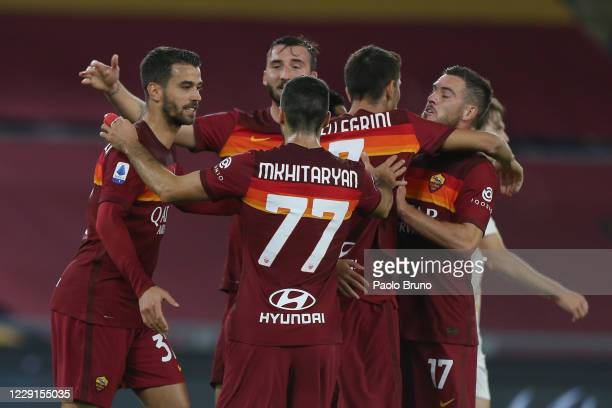 Pedro Rodriguez with his teammates of AS Roma celebrates after scoring the team's first goal during the Serie A match between AS Roma and Benevento...