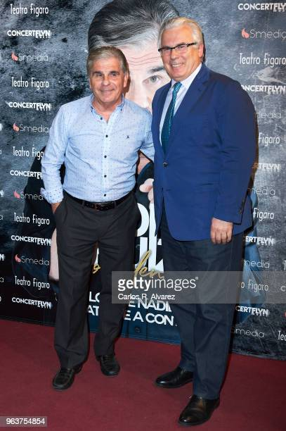 Pedro Ruiz and Baltasar Garzon attend 'Confidencial' premiere at the Figaro Theater on May 30, 2018 in Madrid, Spain.