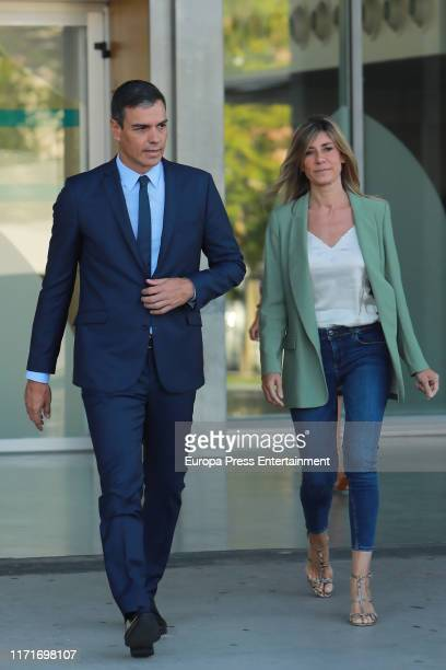 Pedro Sanchez and Begoña Gomez visit King Juan Carlos At Quiron Hospital on August 30 2019 in Pozuelo de Alarcon Spain