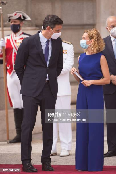 Pedro Sanchez and Meritxell Batet during the reception of the President of the Republic of Korea, Moon Jae-in, and his wife, Kim Jung-sook, upon...