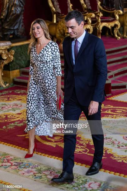 Pedro Sanchez and wife Maria Begona Gomez Fernandez attend a reception at the Royal Palace during the National Day on October 12, 2019 in Madrid,...