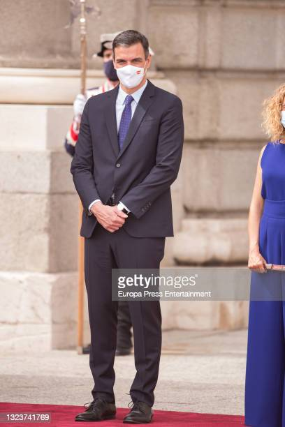 Pedro Sanchez during the reception of the President of the Republic of Korea, Moon Jae-in, and his wife, Kim Jung-sook, upon their arrival in Spain...