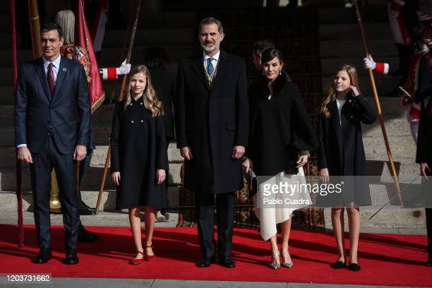 Pedro Sanchez, King Felipe VI of Spain, Queen Letizia of Spain, Princess Leonor of Spain and Princess Sofia of Spain attend the solemn opening of the...