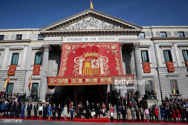 Pedro Sanchez King Felipe VI of Spain Queen Letizia of Spain Princess Leonor of Spain and Princess Sofia of Spain attend the solemn opening of the...