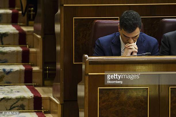 Pedro Sanchez leader of Partido Socialista Obrero Espanol pauses during an investiture debate at the parliament in Madrid Spain on Wednesday March 2...