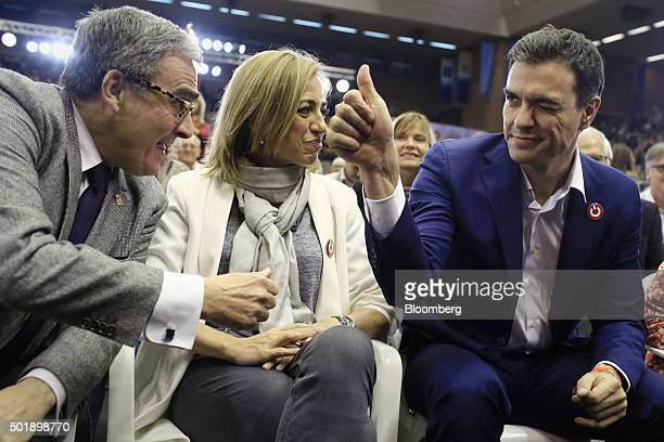 Pedro Sanchez leader of Partidos Socialista Obrero Espanol right gestures while speaking with Carmen Chacon leader for Barcelona of Catalan Socialist...