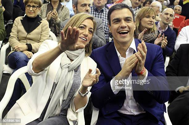 Pedro Sanchez leader of Partidos Socialista Obrero Espanol right applauds with Carmen Chacon leader for Barcelona of Catalan Socialist Workers' Party...