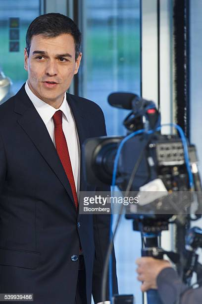Pedro Sanchez leader of Partidos Socialista Obrero Espanol speaks with members of the press before a televised election debate in Madrid Spain on...