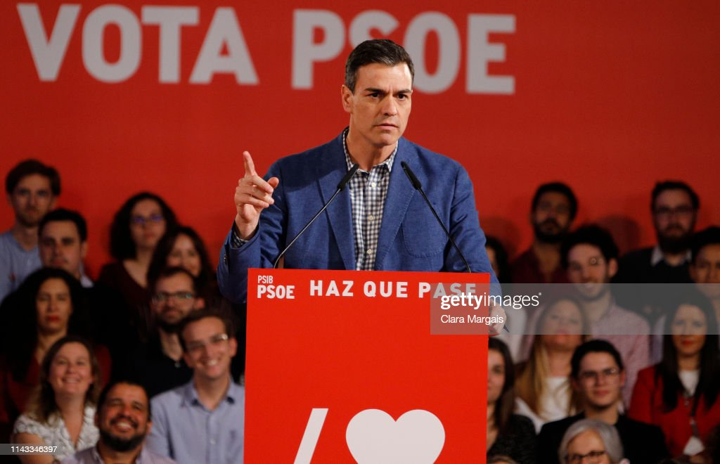 ESP: Pedro Sanchez Attends A Rally In Palma De Mallorca