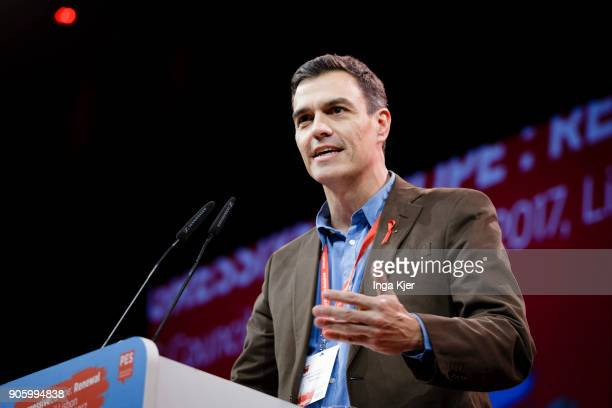 Pedro Sanchez Leader of the PSOE in the course of the PES party congress on December 01 2017 in Lisbon Portugal