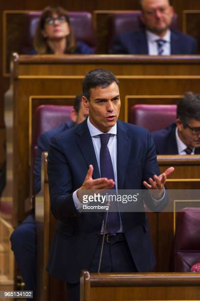 Pedro Sanchez leader of the Spanish Socialist Party gestures as he speaks during a noconfidence motion vote at parliament in Madrid Spain on Friday...
