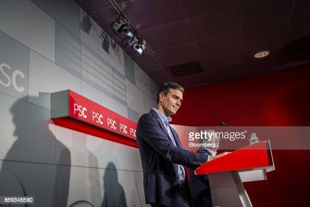 Pedro Sanchez leader of the Spanish Socialist Party left looks on alongside Miquel Iceta first Secretary of Socialists' Party of Catalonia during a...