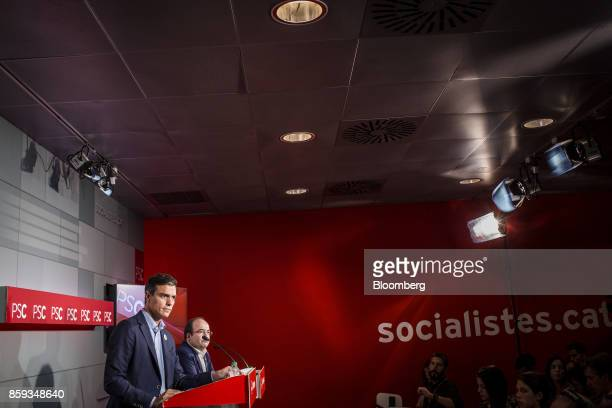 Pedro Sanchez leader of the Spanish Socialist Party left speaks alongside Miquel Iceta first Secretary of Socialists' Party of Catalonia during a...