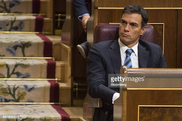 Pedro Sanchez leader of the Spanish Socialist Party PSOE also known as Partidos Socialista Obrero Espanol looks on during an investiture debate at...