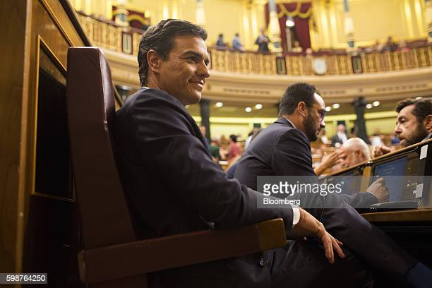 Pedro Sanchez leader of the Spanish Socialist Party PSOE sits inside the parliament in Madrid Spain on Friday Sept 2 2016 Acting Prime Minister...