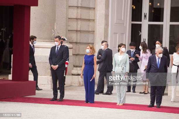 Pedro Sanchez, Meritxell Batet, Pilar Llop and Juan Jose Gonzalez Rivas during the reception of the President of the Republic of Korea, Moon Jae-in,...