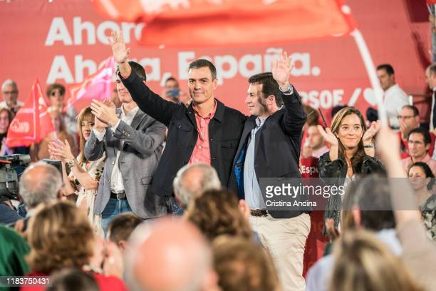 Pedro Sanchez PerezCastejon Prime Minister of Spain and Gonzalo Caballerothe general secretary of PSOE attend a Spanish Socialist Workers' Party...