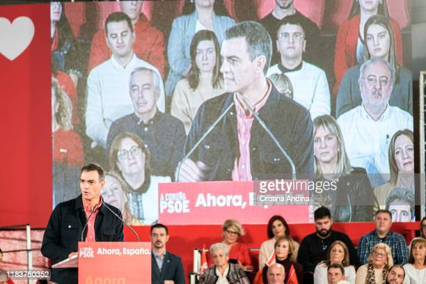 Pedro Sanchez PerezCastejon Prime Minister of Spain attends a Spanish Socialist Workers' Party meeting on October 27 2019 in A Coruna Spain