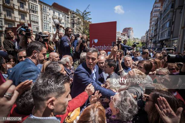 Pedro Sanchez President of Spain surrounded of supporters during a rally in the electoral campaign for european and regional elections in Santander...
