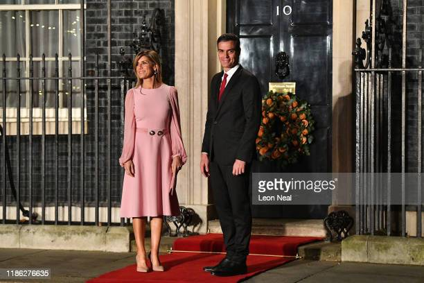 Pedro Sanchez Prime Minister of Spain and wife María Begoña Gómez Fernández arrive at number 10 Downing Street for a reception on December 3 2019 in...