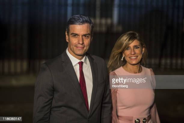 Pedro Sanchez Spain's prime minister left and his wife Maria Begona Gomez Fernandez leave after attending a reception to mark the 70th anniversary of...