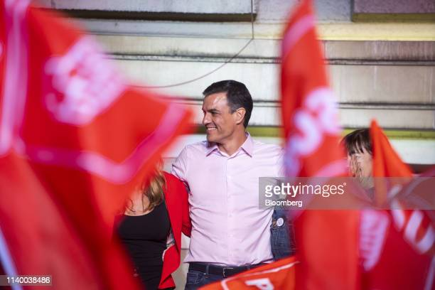 Pedro Sanchez Spain's prime minister smiles while celebrating at the Partido Socialista Obrero Espanol party headquarters in Madrid Spain on Sunday...