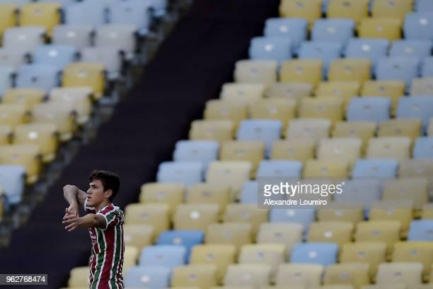 Pedro Santos of Fluminense celebrates a scored goal during the match between Fluminense and Chapecoense as part of Brasileirao Series A 2018 at...