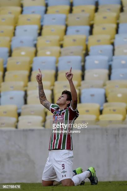 Pedro Santos of Fluminense celebrates a scored goal during the match between Fluminense and Chapecoense as part of Brasileirao Series A 2018 at...
