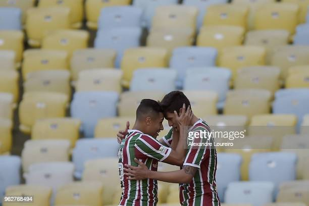 Pedro Santos of Fluminense celebrates a scored goal with Marlos during the match between Fluminense and Chapecoense as part of Brasileirao Series A...
