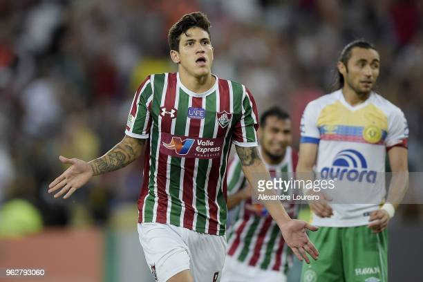 Pedro Santos of Fluminense celebrates their second scored goal during the match between Fluminense and Chapecoense as part of Brasileirao Series A...
