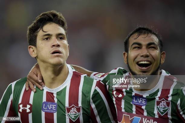 Pedro Santos of Fluminense celebrates their second scored goal with Junior Sornoza during the match between Fluminense and Chapecoense as part of...