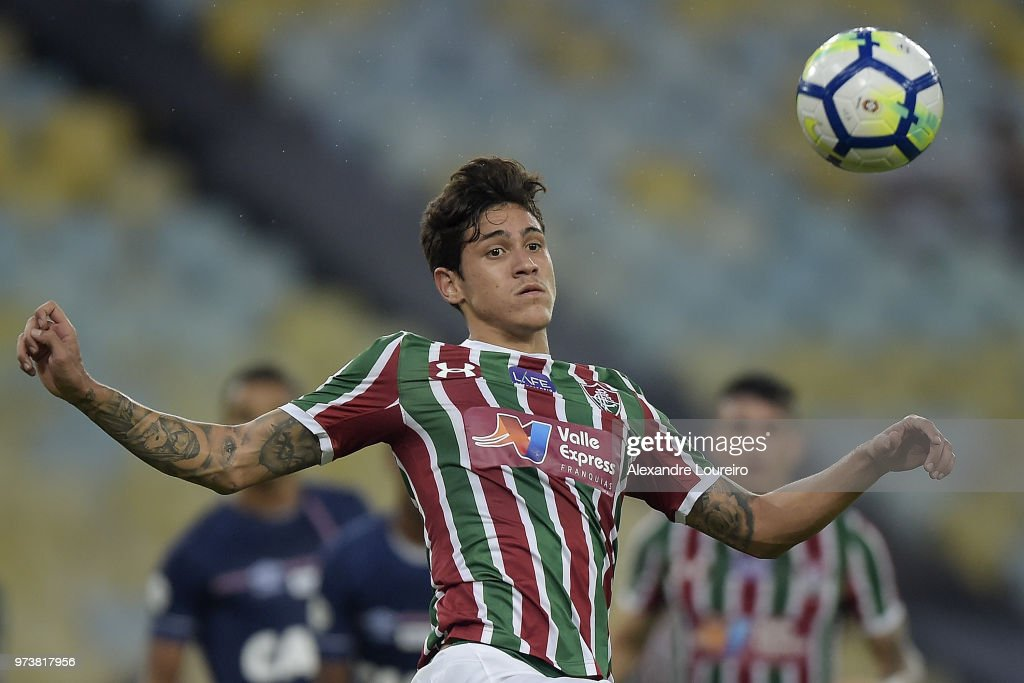 Pedro Santos of Fluminense in action during the match between Fluminense and Santos as part of Brasileirao Series A 2018 at Maracana Stadium on June 13, 2018 in Rio de Janeiro, Brazil.