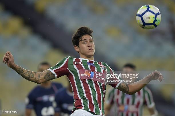 Pedro Santos of Fluminense in action during the match between Fluminense and Santos as part of Brasileirao Series A 2018 at Maracana Stadium on June...