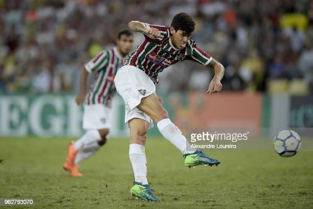 Pedro Santos of Fluminense kicks the ball forscored their second goal during the match between Fluminense and Chapecoense as part of Brasileirao...