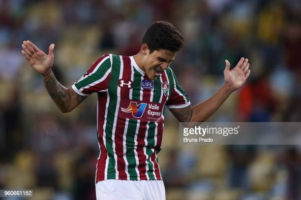 Pedro Santos of Fluminense reacts during a match between Fluminense and Atletico PR as part of Brasileirao Series A 2018 at Maracana Stadium on May...