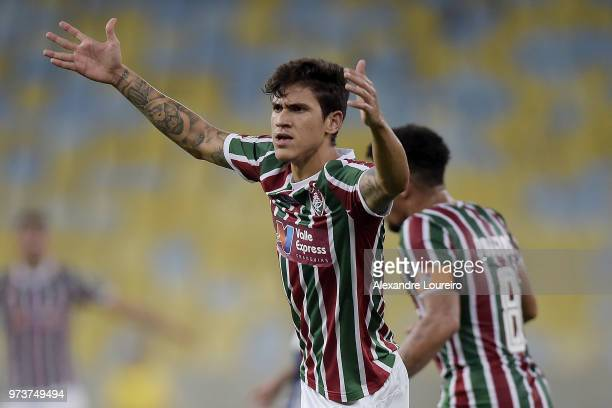 Pedro Santos of Fluminense reacts during the match between Fluminense and Santos as part of Brasileirao Series A 2018 at Maracana Stadium on June 13...