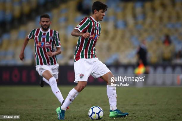 Pedro Santos of Fluminense runs for the ball during a match between Fluminense and Atletico PR as part of Brasileirao Series A 2018 at Maracana...