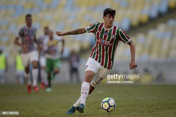 Pedro Santos of Fluminense runs with the ball during the match between Fluminense and Chapecoense as part of Brasileirao Series A 2018 at Maracana...