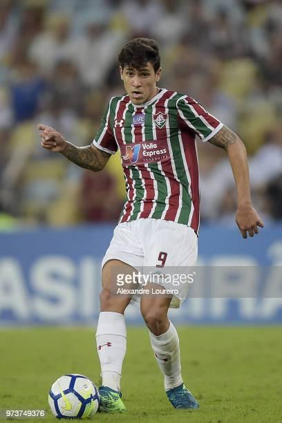 Pedro Santos of Fluminense runs with the ball during the match between Fluminense and Santos as part of Brasileirao Series A 2018 at Maracana Stadium...