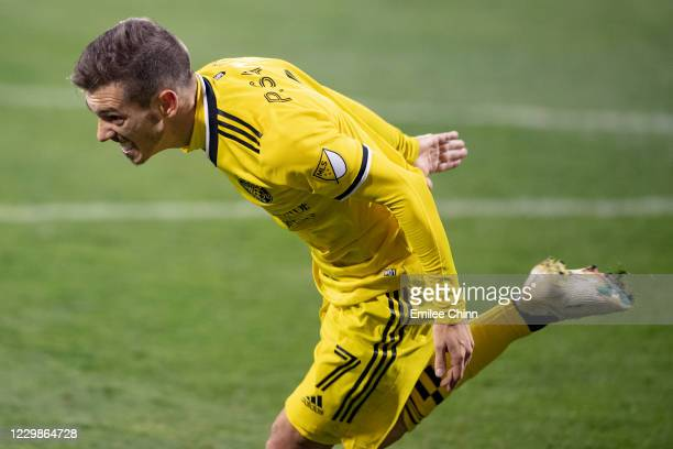 Pedro Santos of the Columbus Crew celebrates his goal in overtime during the MLS Eastern Conference semifinal game against Nashville SC at MAPFRE...