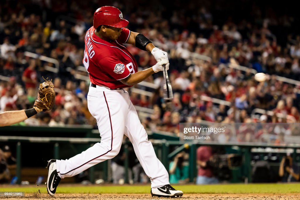 Pedro Severino #29 of the Washington Nationals at bat against the Miami Marlins during the eighth inning at Nationals Park on July 07, 2018 in Washington, DC.