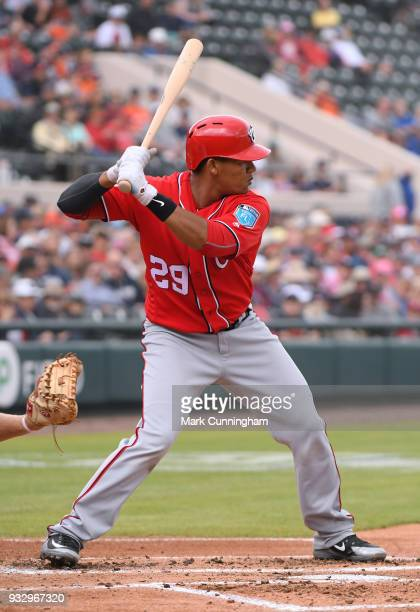 Pedro Severino of the Washington Nationals bats during the Spring Training game against the Detroit Tigers at Publix Field at Joker Marchant Stadium...
