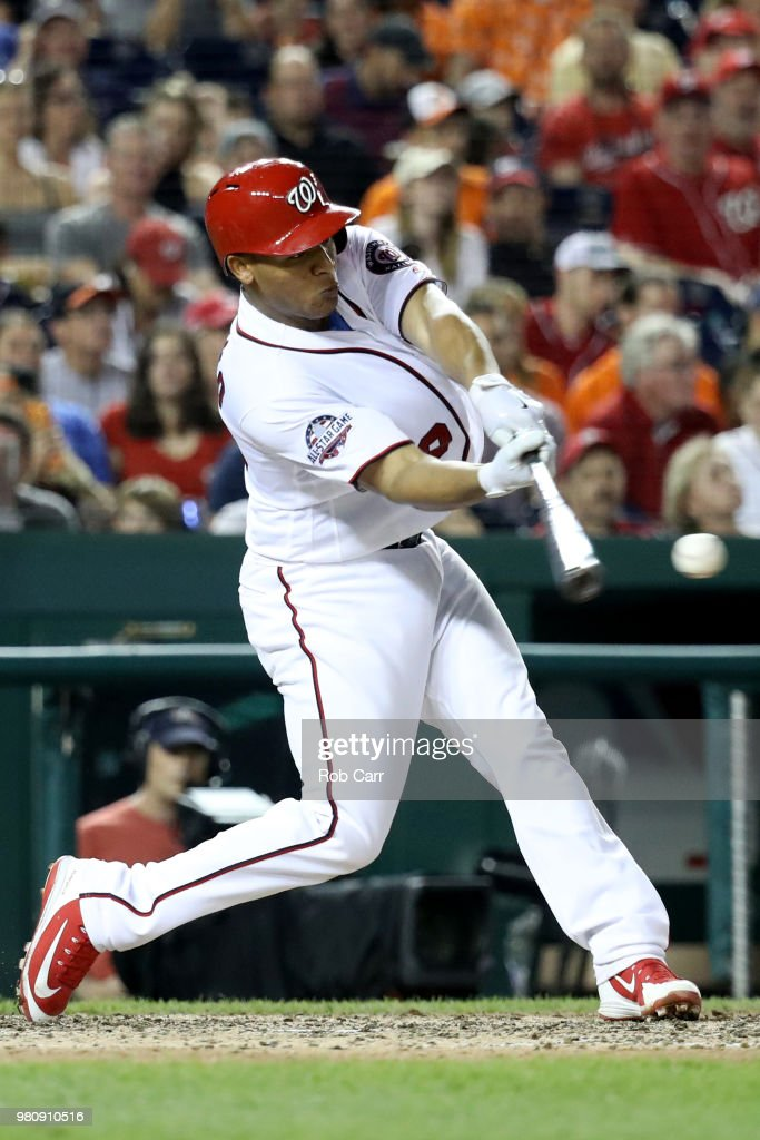 Pedro Severino #29 of the Washington Nationals hits the ball against the Baltimore Orioles at Nationals Park on June 21, 2018 in Washington, DC.