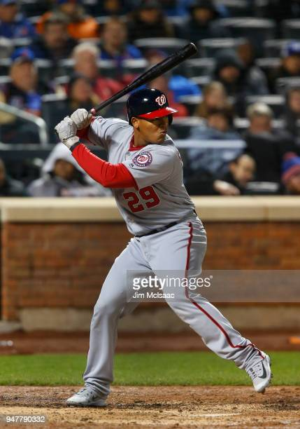 Pedro Severino of the Washington Nationals in action against the New York Mets at Citi Field on April 16 2018 in the Flushing neighborhood of the...